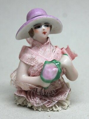 Antique LADY WITH HAT Porcelain HALF DOLL PIN CUSHION/ Made in France