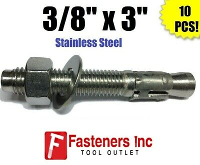 """(QTY 10) 3/8"""" x 3"""" Concrete Wedge Anchor Stainless Steel Grade 304"""