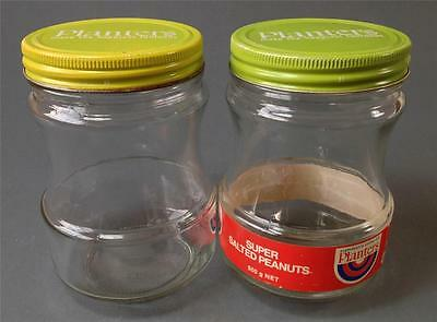 Vintage/retro 60s-70s glass Planters nuts jars x 2 green metal lids -kitchenalia