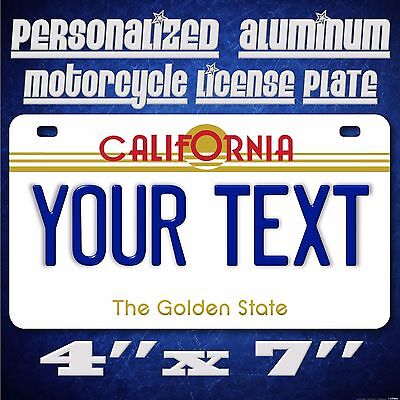 California Any Text Custom Personalized State Motorcycle License Plate TGS Blue