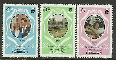 DOMINICA 1981 PRINCESS DIANA & PRINCE CHARLES ROYAL WEDDING 3v MNH