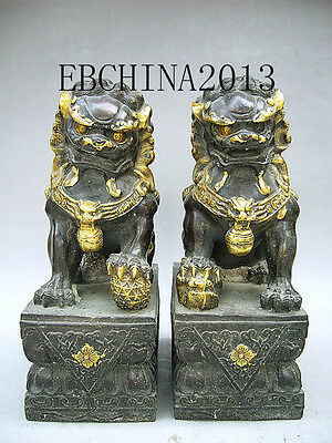 """10""""Chinese fengshui Collection Old Bronze Brass Statue A Pair Of Lion Sculpture"""