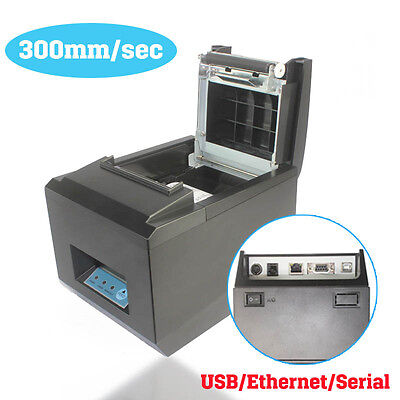 300mm/s POS Thermal Receipt Printer 80mm Auto Cutter Serial Port/USB/Ethernet