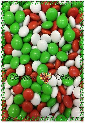 Chocolate Drops Choc Beanies Smarties Christmas Lollies Green Red White Xmas