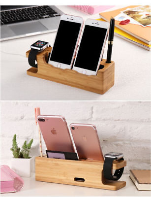 Bamboo Charging Dock Station Holder Stand Fr iWatch iPhone Apple Watch Charger