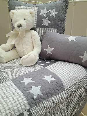 Cot Quilt & 2 Cushions Set Lachlan Grey Stars Baby Boys  Nursery Linens N Things