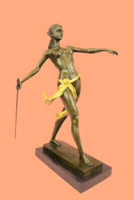 Signed 100% BRONZE DECO NUDE DIANA HUNTRESS FIGURINE FIGURE STATUE HOT CAST ART