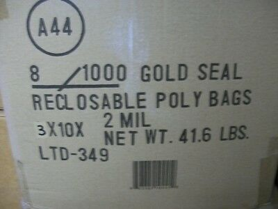 "Zip Seal Bags 3"" x 10"" 2 mil Lot of 8000 Bags"