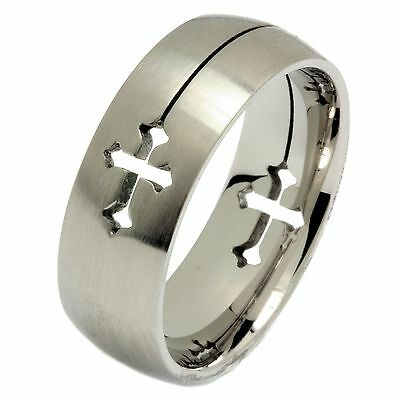 Laser Cut Cross Ring 316L Surgical Grade Stainless Steel 8mm Size 5.5