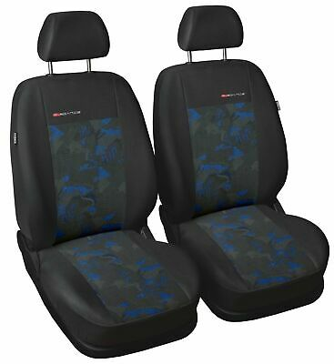 2 X CAR SEAT COVERS  pair for front seats fit  VW Caddy  charcoal/blue