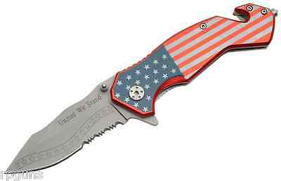 USA FLAG Spring Assisted Tactical Rescue folding Pocket Knife AO 300235 NEW GIFT