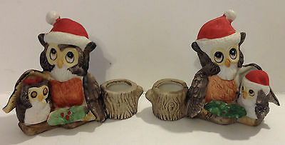 Pair Of Cute Porcelain Christmas Owl Candle Holders