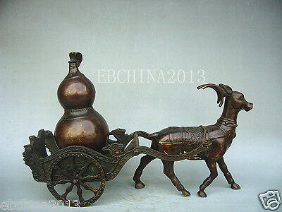 """9""""Collectible Decorated Old Handwork Pure Copper Pulling The Deer Statue"""