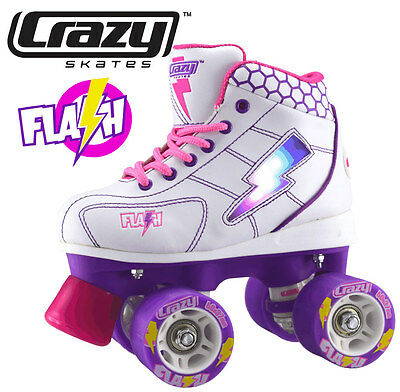 Crazy Flash Girls Junior Recreational High Top Roller Skates - White - Size 32