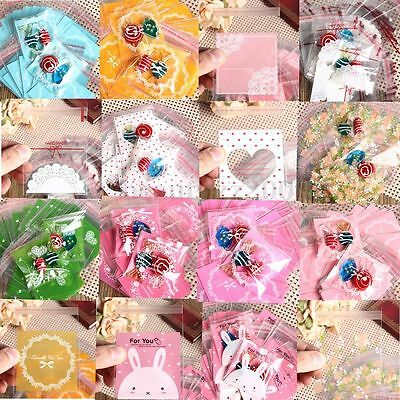 Cute 100Pcs Xmas Cookies Candy Christmas Gift Seal Bags Pack Treat Party Sweet