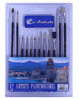 10 Piece Artist Brushes Paint Brush Set Flat & Tipped Different Size and Length
