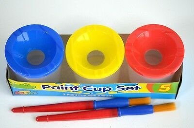 3 x 150ml Kids Paint Cup Set 2 Jumbo Brushes 3 Lids Non-spill Easy cleaning up