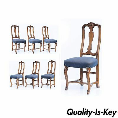 6 Vintage Swedish Rococo French Style Shell Hoof Foot Walnut Dining Side Chairs