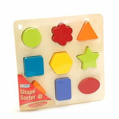 Wooden Shape Sorter Sorting Puzzle Colourful Ackerman New