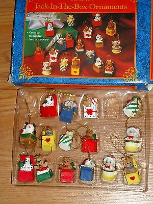 Miniature Jack In The Box Christmas Tree Ornaments set of 15 in box resin