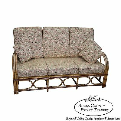 Antique Split Reed Rattan Bamboo Sofa