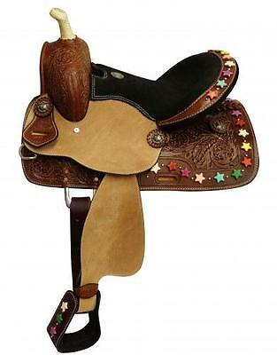 """NEW 13"""" Double T Youth/Pony Saddle with Multi Colored Star Beads on Cantle!"""