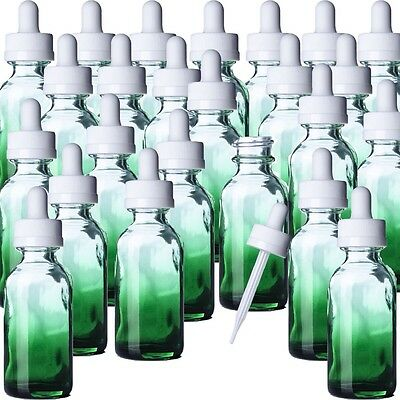 1 oz New Green Shaded Glass Boston Round Bottle.  Qty 24 With White Dropper Top
