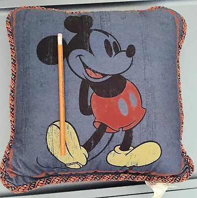 16x16 Mickey Mouse Blue Satin Rope Edge Pillow Disney