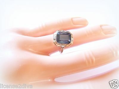 Yellow Gold 10K Art Deco Bezel Set Blue Stone Radiant Ring Size 6 True Vintage