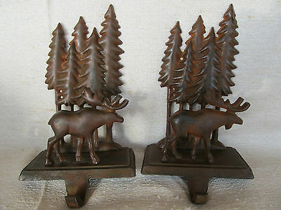 2 Stocking Hanger Holders Midwest of Cannon Falls, Moose in Trees, Cast Iron Set