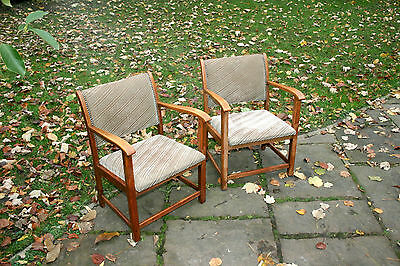 Pair Of Compact Retro Vintage Solid Teak Armchairs - Upholstered Seats & Backs