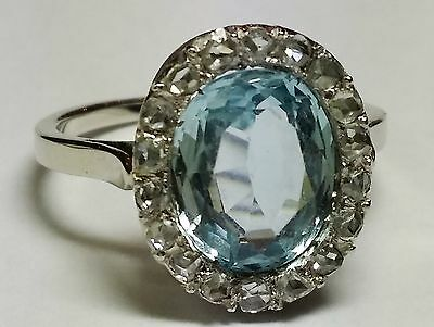 Bague Or Gris Aigue Marine / Diamants