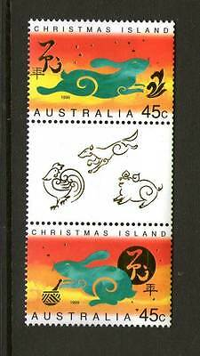 Christmas Island 1999 Year Of Rabbit Gutter Pair