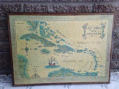 Vintage Reproduction West Indies And Caribbean Map Decoupage Picture