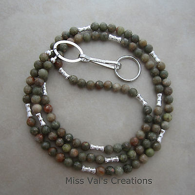 Handcrafted autumn Fall jasper silver lanyard ID badge key holder 32 inches