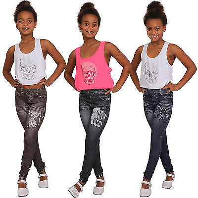 Kinder Thermo Leggins Rose Hose Jeans Print Destroyed Bär Leggings Jeggings Neu