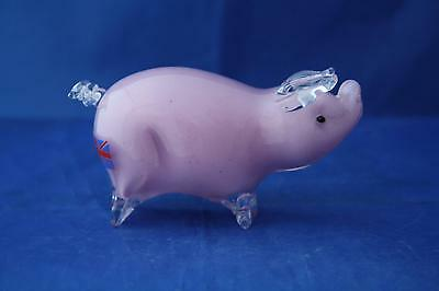 Langham Glass Hand-Made Crystal Small Pink Pig Standing - New / Boxed