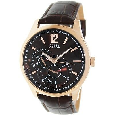GUESS    CHRONOGRAPH Brown Watch  U10627G1 Genuine Leather Stripe