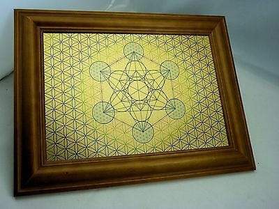 Metatron Cube & Flower of Life - WALL ART Design EXCLUSIVE Print on Gold Metal