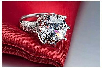 Fashion 925 Silver Filled  Huge White Sapphire  Bridal Engagement Ring size 6-11