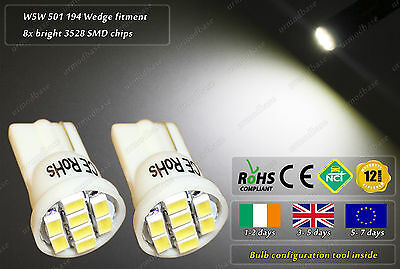 2x T10 LED W5W 501 Xenon White Wedge HID Side Lights Parking Bulbs Position 24V