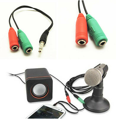 3.5mm Headphone Mic Audio Y Splitter Cable Male to 2 Dual Female Cable Converter