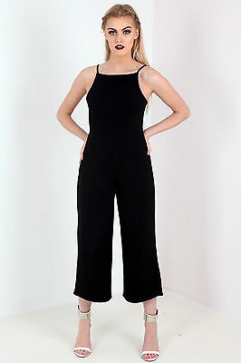 a2e2ee82cae NEW WOMENS LADIES Pleated Strappy Tie Back Culotte Jumpsuit Black ...