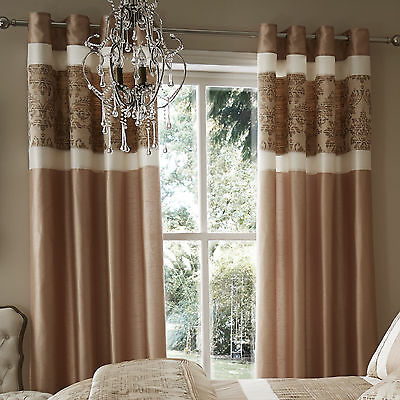 "66"" X 72"" Catherine Lansfield Glamour Jacquard Gold Pair Curtains Eyelet Ringtop"