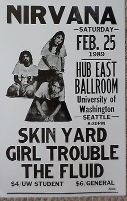 Nirvana with Skin Yard, Girl Trouble, and The Fluid Poster Print