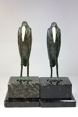 Antique Rare Pair Of Metal Ware Bird Mothman Mantle Figures C.1890+