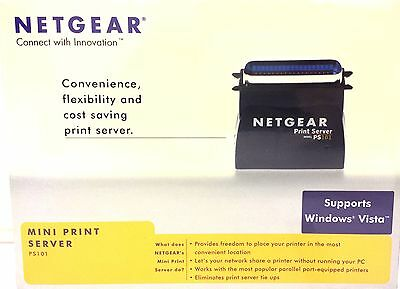 Netgear Ps101 Parallel Printer Mini Print Server For Network Share Printer
