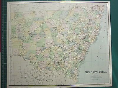 1902 Large Antique Map ~ New South Wales ~ Australia Richmond