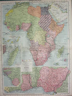 1940 Map ~ Africa ~ Madagascar Guinea Cpe Of Good Hope Sahara Kenya Egypt