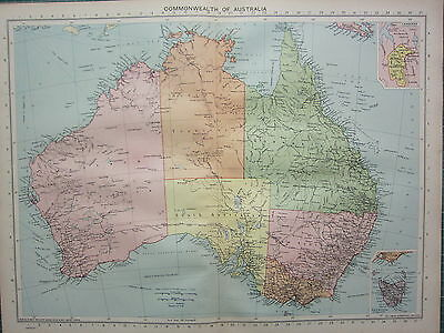 1940 Map ~ Commonwealth Australia New South Wales Victoria Queensland Canberra